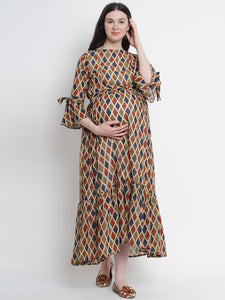 Multicolor A-Line Maternity Dress w/ Geometric Pattern, Made of Georgette & Lycra