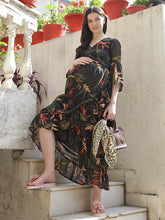 Load image into Gallery viewer, Black A-Line Maternity Dress w/ Floral Pattern, Made of Georgette & Lycra