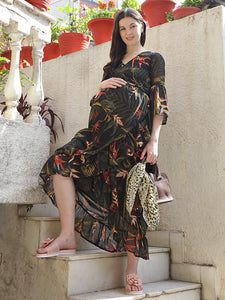 Black A-Line Maternity Dress w/ Floral Pattern, Made of Georgette & Lycra
