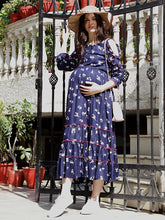 Load image into Gallery viewer, Navy Blue A-Line Maxi Maternity Dress w/ Floral Pattern, Made of Rayon