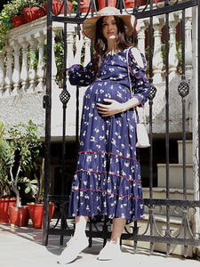 Navy Blue A-Line Maxi Maternity Dress w/ Floral Pattern, Made of Rayon