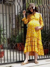 Load image into Gallery viewer, Mine4Nine Women's Yellow Maxi Rayon Maternity Dress