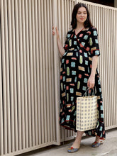 Load image into Gallery viewer, Black Asymmetric Maxi Maternity Dress w/ Digital Print, Made of Rayon