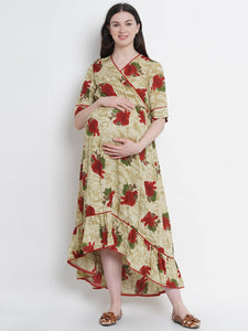 Multicolor Asymmetric Maxi Maternity Dress w/ Floral Pattern, Made of Rayon