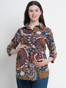 Mine4Nine - Top - Mine4Nine Women's Multi A-Line Rayon Maternity Top