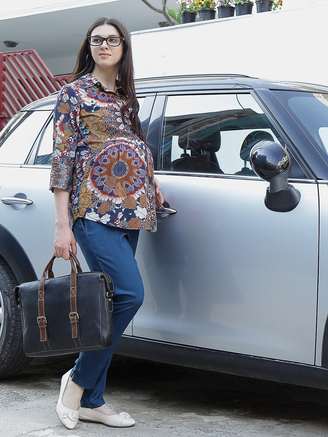 Multicolor Regular Maternity Top w/ Floral Pattern Made of Rayon