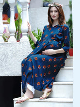 Load image into Gallery viewer, Mine4Nine Women's Teal A-Line Rayon Maternity Kurta
