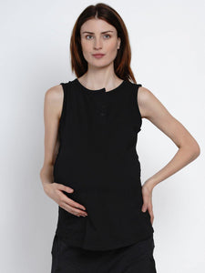 Mine4Nine Women's Black Cotton Maternity Yoga T-shirts