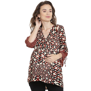 Brown Drop Waist  Maternity Top w/ Geometric Print, Made of Synthetic- Mine4Nine