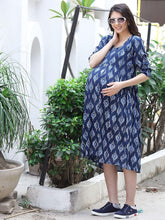 Load image into Gallery viewer, Midnight Blue Empire Waist Maternity Dress w/ Block Print, Made of Rayon- Mine4Nine