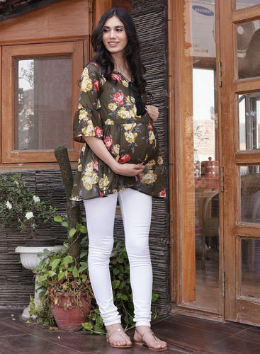 Mine4Nine - Top - Olive Drop Waist Maternity Top Made of Georgette