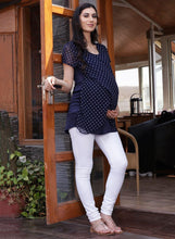 Load image into Gallery viewer, Midnight Blue Wrap Maternity Top Made of Georgette