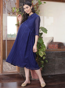 Midnight Blue A-line Maternity Dress w/ a Graphic Print, Made of Lace- Mine4Nine