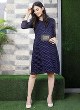 Load image into Gallery viewer, Midnight Blue A-line Maternity Dress w/ Polka Dots, Made of Synthetic- Mine4Nine