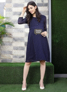 Midnight Blue A-line Maternity Dress w/ Polka Dots, Made of Synthetic- Mine4Nine