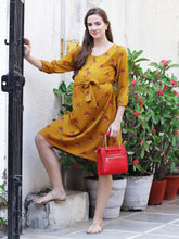 Load image into Gallery viewer, Mellow Yellow A-line Maternity Dress w/ Floral Print Made of Rayon- Mine4Nine