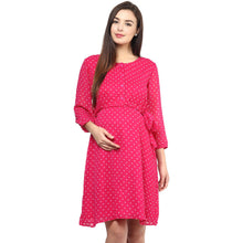 Load image into Gallery viewer, Camellia Rose A-line Maternity Dress w/ Polka Print Made of Georgette- Mine4Nine