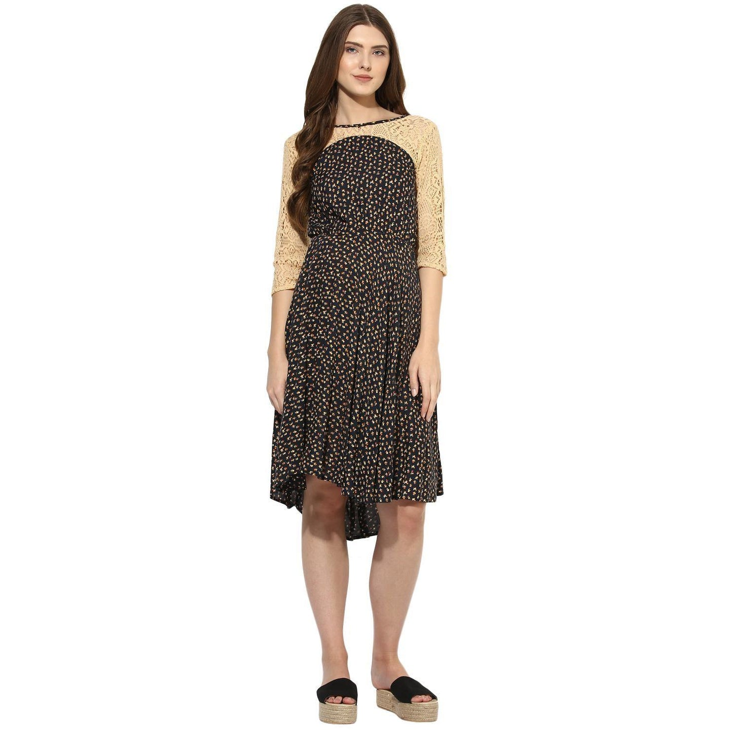 Black Fit & Flare Maternity Dress w/ Floral Pattern, Made of Lace & Rayon- Mine4Nine
