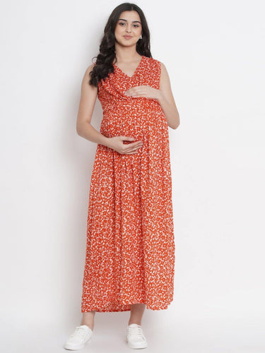 Dark Orange A-Line Maxi Maternity Dress w/ Floral Pattern, Made of Rayon