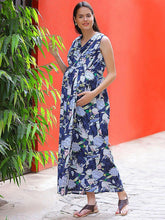 Load image into Gallery viewer, Steel Blue A-line Maternity Dress w/ Floral Pattern, Made of Rayon- Mine4Nine