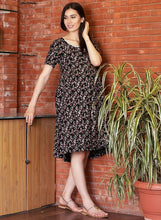 Load image into Gallery viewer, Black A-line Maternity Dress w/ Floral Pattern, Made of Rayon- Mine4Nine