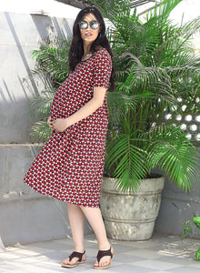 Red A-line Maternity Dress w/ Geometric Pattern, Made of Rayon- Mine4Nine