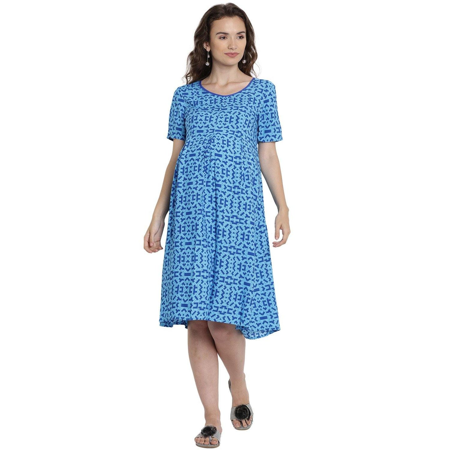 Light Sea Green Midi Maternity Dress Made of Rayon- Mine4Nine