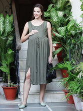 Load image into Gallery viewer, Dark Olive Green A-line Maternity Dress Made of  Rayon- Mine4Nine