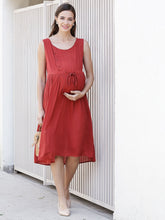 Load image into Gallery viewer, Fire Brick Red  A-line Maternity Dress Made of  Rayon- Mine4Nine