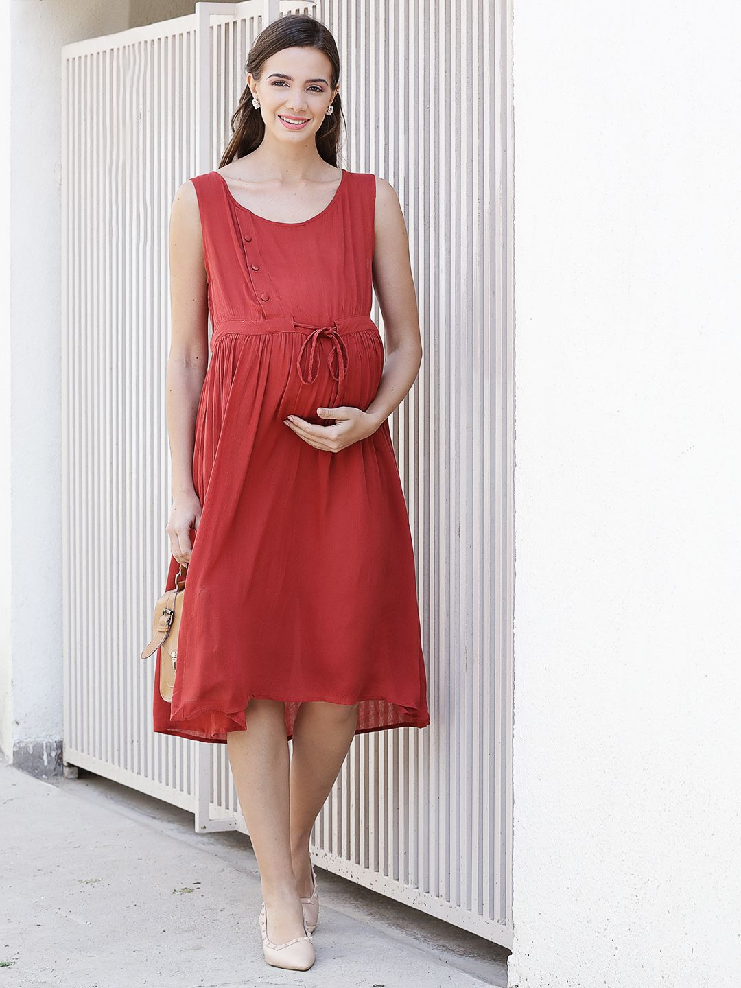 Fire Brick Red  A-line Maternity Dress Made of  Rayon- Mine4Nine