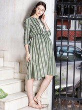 Load image into Gallery viewer, Dark Olive Green A-line Maternity Dress w/ Striped Pattern Made of Rayon- Mine4Nine