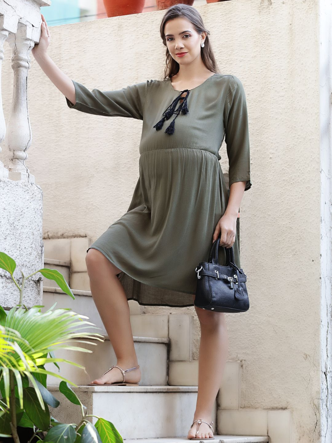 Dark Olive Green A-line Maternity Dress Made of Rayon- Mine4Nine