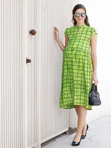 Chartreuse Green A-line Maternity Dress w/ Graph Checks, Made of Rayon- Mine4Nine