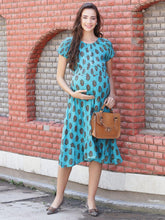 Load image into Gallery viewer, Light Sea Green A-line Maternity Dress w/ Floral Print Made of Rayon- Mine4Nine
