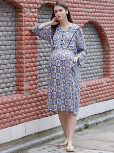 Cornflower Blue Midi Printed Maternity Dress Made of Rayon- Mine4Nine