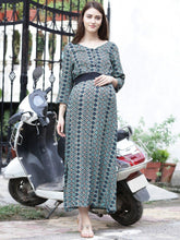 Load image into Gallery viewer, Teal Maxi Maternity Dress w/ Geometric Pattern, Made of Rayon- Mine4Nine