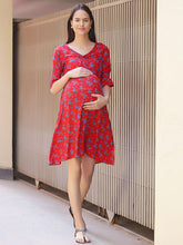 Load image into Gallery viewer, Red A-line Maternity Dress w/ Floral Pattern Made of Rayon- Mine4Nine