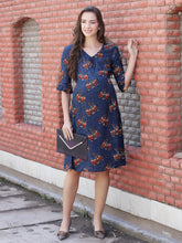 Load image into Gallery viewer, Navy A-line Maternity Dress Made of Rayon- Mine4Nine