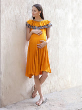 Load image into Gallery viewer, Dense Orange Fit & Flare Maternity Dress w/ a Layered Frill, Made of Rayon- Mine4Nine