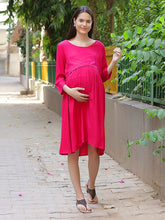 Load image into Gallery viewer, Crimson A-line Maternity Dress Made of Rayon- Mine4Nine