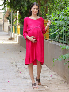 Crimson A-line Maternity Dress Made of Rayon- Mine4Nine