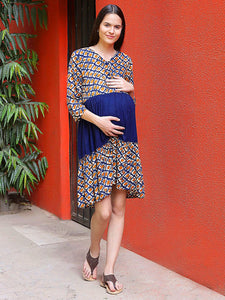 Navy Fit & Flare Maternity Dress w/ Geometric Pattern, Made of Rayon- Mine4Nine