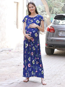 Navy A-line Maternity Dress w/ Floral Patterns Made of Rayon- Mine4Nine