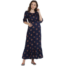 Load image into Gallery viewer, Midnight Blue Maxi Maternity Dress with Floral Patterns Made of Rayon- Mine4Nine
