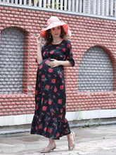 Load image into Gallery viewer, Black Maxi Maternity Dress w/ Floral Pattern, Made of Rayon- Mine4Nine