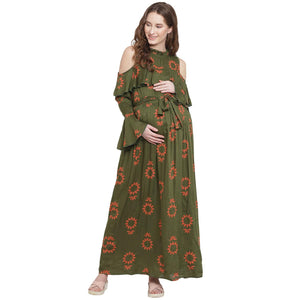 Dark Olive Green A-line Maternity Dress w/ Floral Pattern, Made of Rayon- Mine4Nine