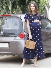 Load image into Gallery viewer, Navy Maxi Maternity Dress w/ Polka Print, Made of Synthetic- Mine4Nine