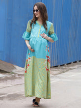 Load image into Gallery viewer, Cyan A-line Maternity Dress w/ Floral Print, Made of Crepe- Mine4Nine