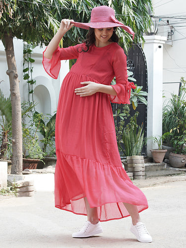 Mine4Nine - Dress - Rose Red Fit & Flare Maternity Dress Made of Chiffon & Rayon