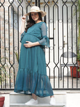 Load image into Gallery viewer, Mine4Nine - Dress - Ocean Blue Fit & Flare Maternity Dress Made of Chiffon & Lycra